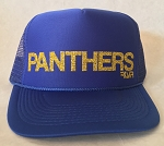 Panther Trucker Hat - Blue with Gold Glitter Writing
